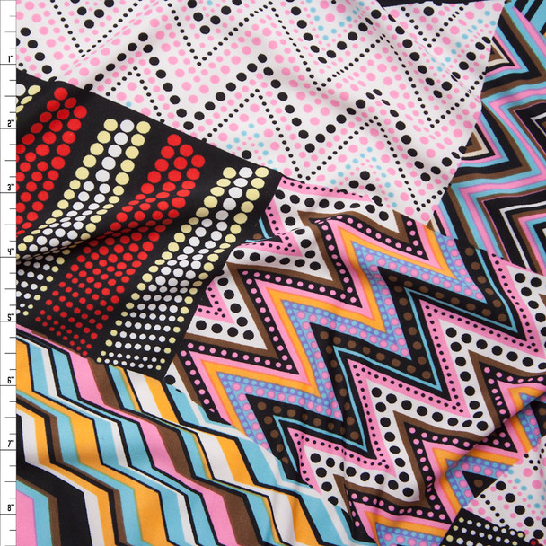 Pink and Light Blue Mixed Pattern Patchwork Stretch ITY Fabric By The Yard
