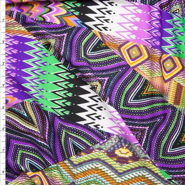Green and Purple Mixed Pattern Patchwork Stretch Poly Jersey Knit Fabric By The Yard