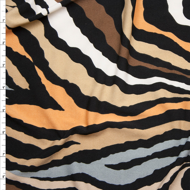 Brown and Tan Zebra Print Stretch Poly Jersey Knit Fabric By The Yard