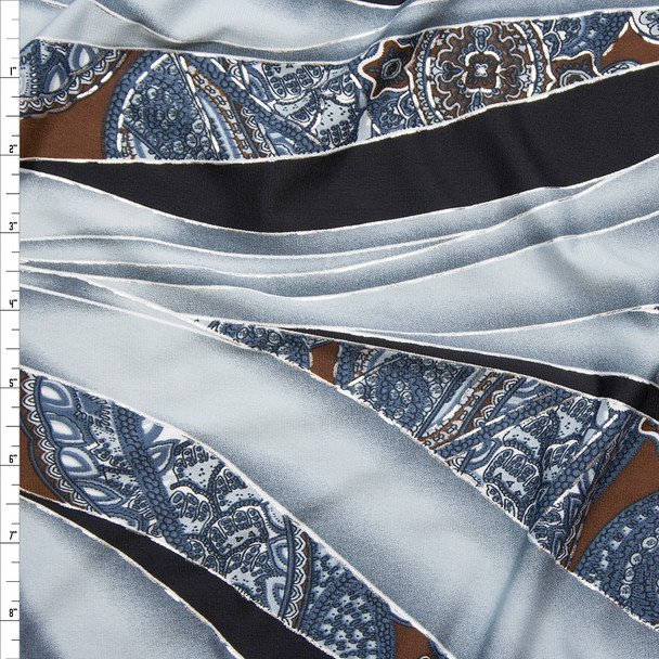 Grey, Black, Brown, and Metallic Silver Swirl and Paisley Print Fabric By The Yard