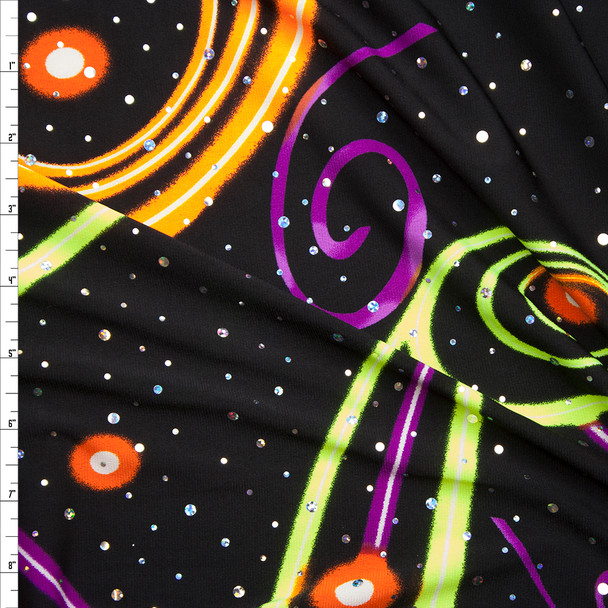 Sequined Neon Swirls on Black Print Stretch Poly Jersey Knit Fabric By The Yard
