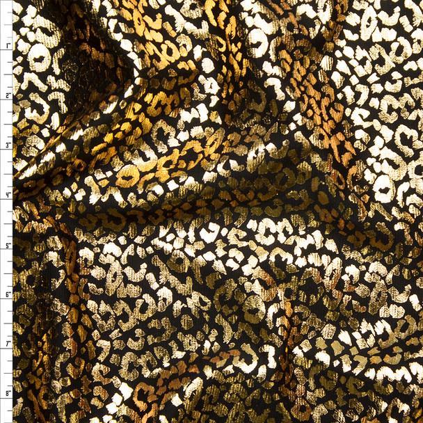 Metallic Gold Cheetah Print on Black Midweight Ponte De Roma Fabric By The Yard