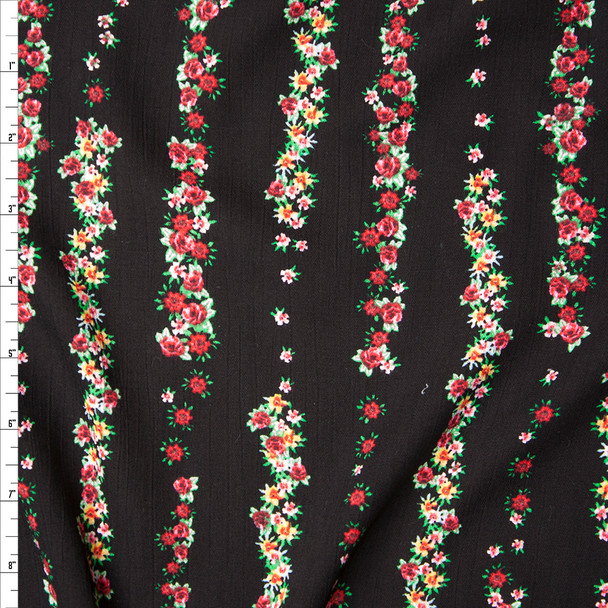 Red and Green Floral Stripes on Black Rayon Gauze Fabric By The Yard