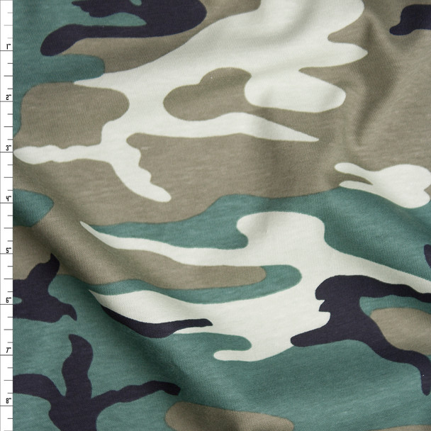 Classic Camouflage Midweight Cotton Jersey Knit Fabric By The Yard