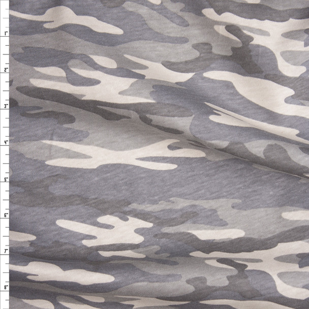 Muted Desert Camouflage Midweight Cotton Jersey Knit Fabric By The Yard