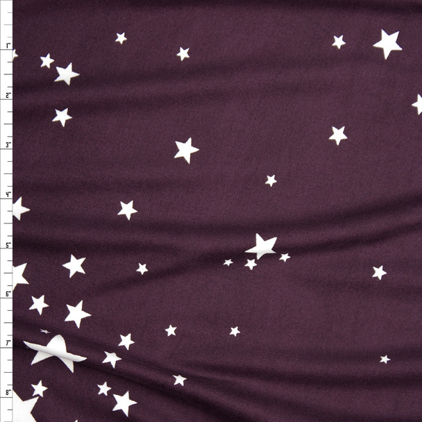 White Scattered Stars on Plum Double Brushed Poly Spandex Fabric By The Yard