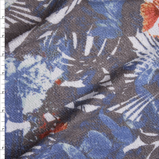 Grey, Blue, and Orange Island Abstract Slubbed French Terry from 'Sol Angeles' Fabric By The Yard