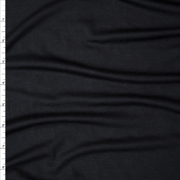 Black Modal/Lycra Stretch Micro Rib Knit Fabric By The Yard