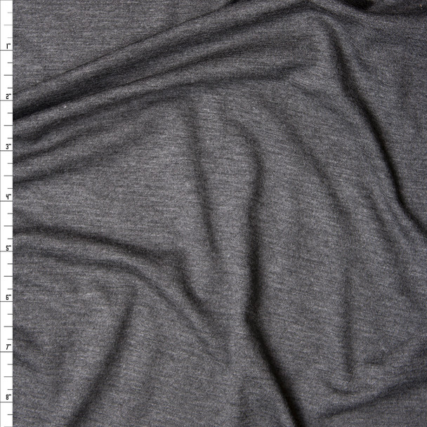 Dark Grey Heather Lightweight Stretch Rayon Jersey Knit Fabric By The Yard