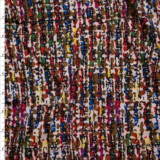 Multi Tweed Look Print Double Brushed Poly Spandex Knit Fabric By The Yard