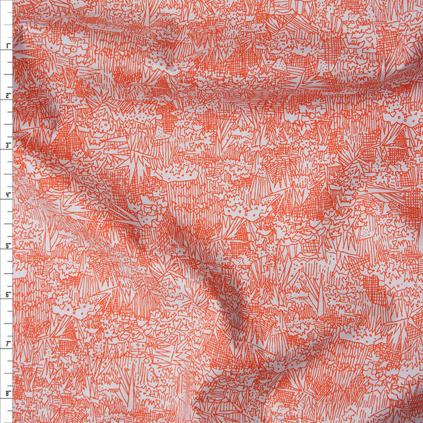 Red Orange on Pale Grey 'Friedlander' Cotton Lawn by Robert Kaufman Fabric By The Yard