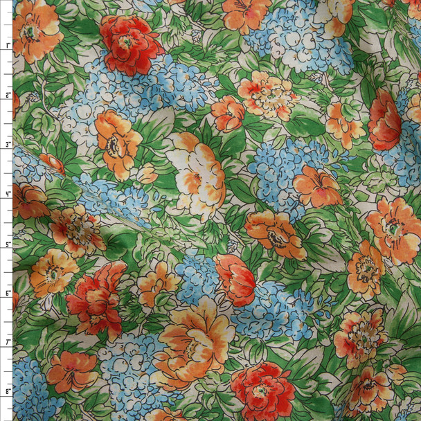 Orange, Red, Light Blue, and Green Garden Floral 'London Calling' Cotton Lawn by Robert Kaufman  Fabric By The Yard