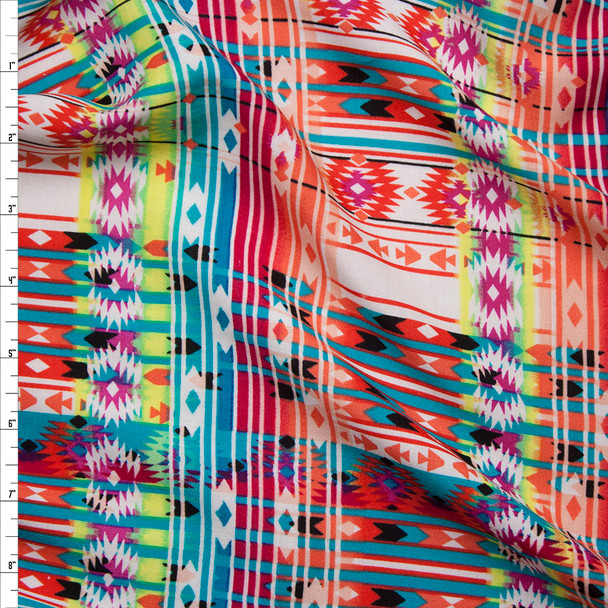 Vibrant Coral, Neon Yellow, Turquoise, and Hot Pink Southwestern Style Rayon Challis Print Fabric By The Yard