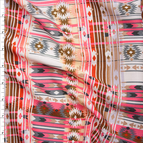 Pink, Tan, and Brown Southwestern Style Rayon Challis Print Fabric By The Yard