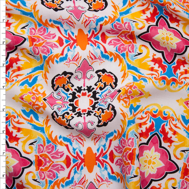 Vibrant Pink, Yellow, and Orange Scrollwork Rayon Challis Print Fabric By The Yard