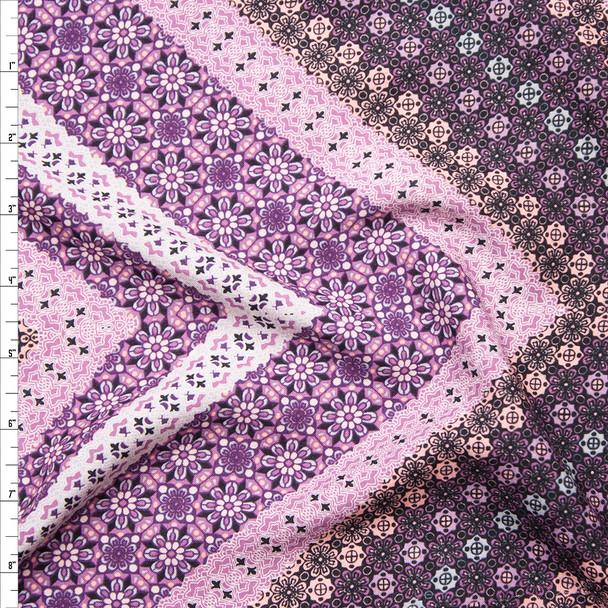 Purple and Lavender Ornate Chevron Print Rayon Challis Fabric By The Yard