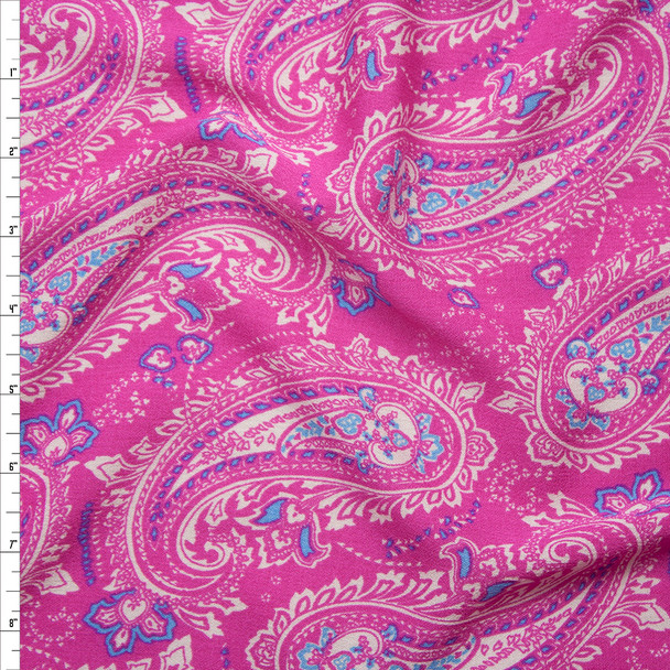 White and Blue Paisleys on Hot Pink Rayon Gauze Fabric By The Yard