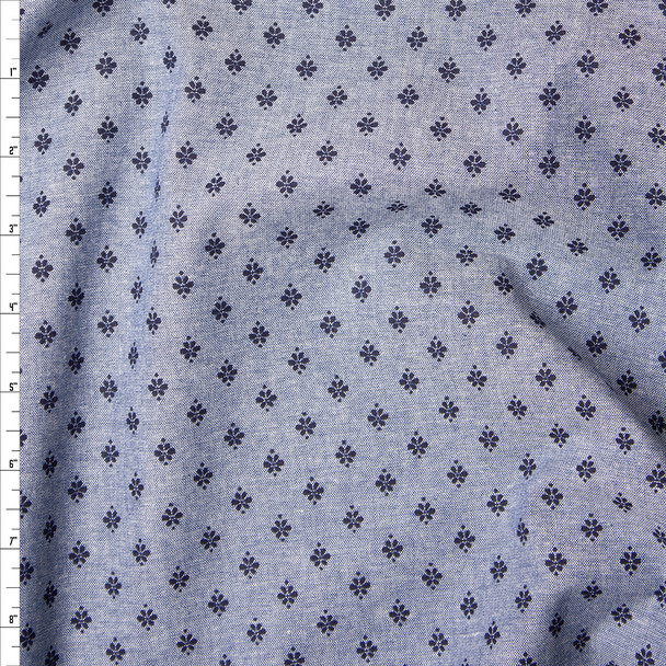 Blue on Blue Floral Print Chambray Fabric By The Yard