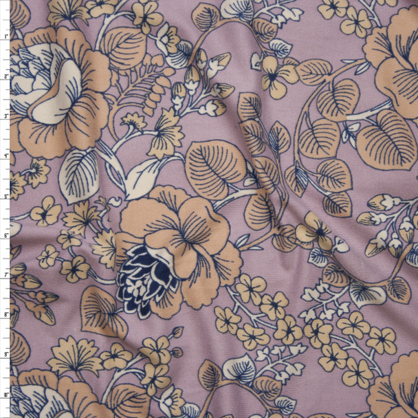 Tan and Ivory Scrolling Floral on Dusty Rose Double Brushed Poly/Spandex Knit Fabric By The Yard