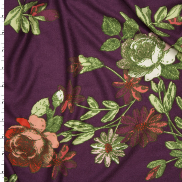Green and Red Sketchbook Floral on Plum Double Brushed Poly/Spandex Knit Fabric By The Yard
