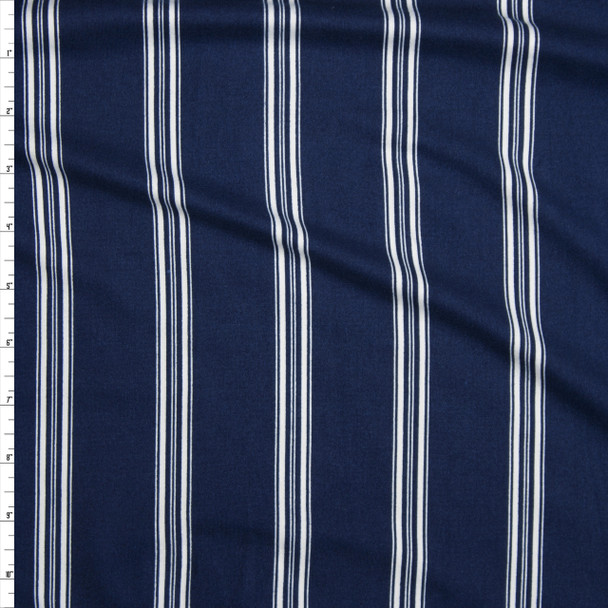White on Navy Blue Stripe Double Brushed Poly/Spandex Knit Fabric By The Yard
