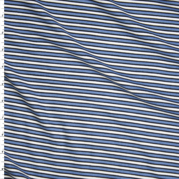 Blue, Black, and Ivory Narrow Stripe Double Brushed Poly/Spandex Knit Fabric By The Yard