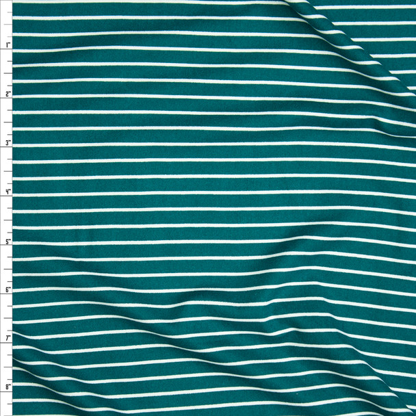 Emerald and White Pinstripe Double Brushed Poly/Spandex Knit Fabric By The Yard