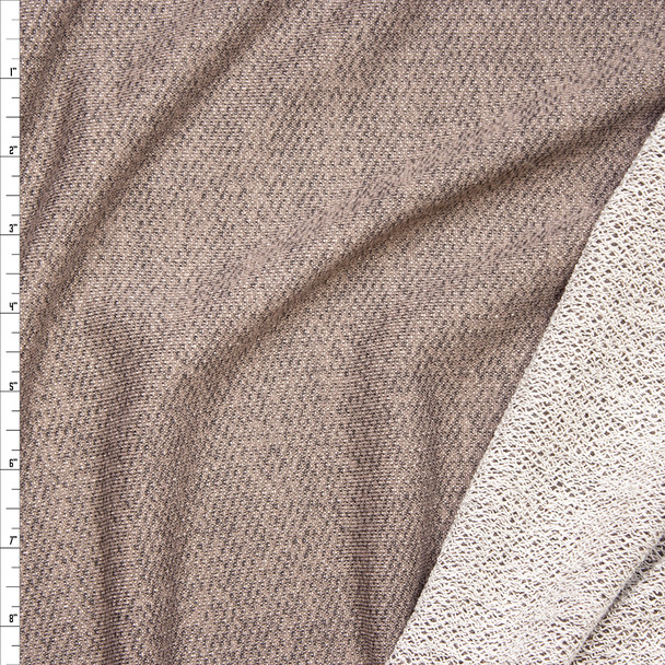 Taupe Mottled Soft French Terry Fabric By The Yard