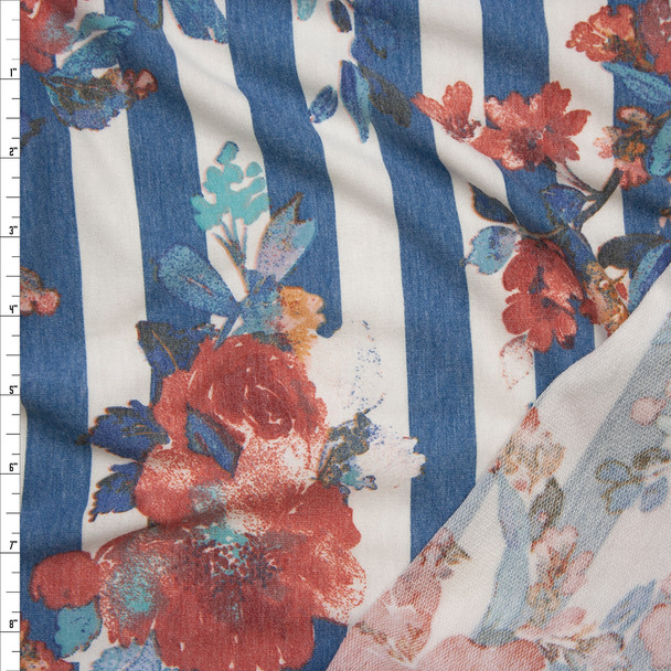 Rust and Teal Watercolor Floral on Slate Grey and Offwhite Striped French Terry Fabric By The Yard