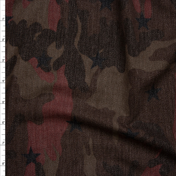 Burgundy and Brown Camouflage with Black Stars Loop Printed French Terry Fabric By The Yard
