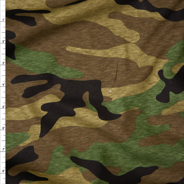 Classic Camouflage Slubbed Cotton Jersey Knit Fabric By The Yard