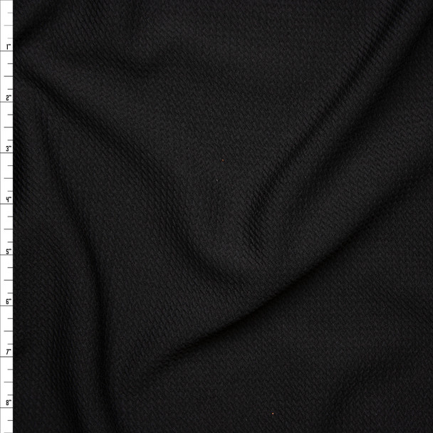 Solid Black Braided Texture Liverpool Knit Fabric By The Yard