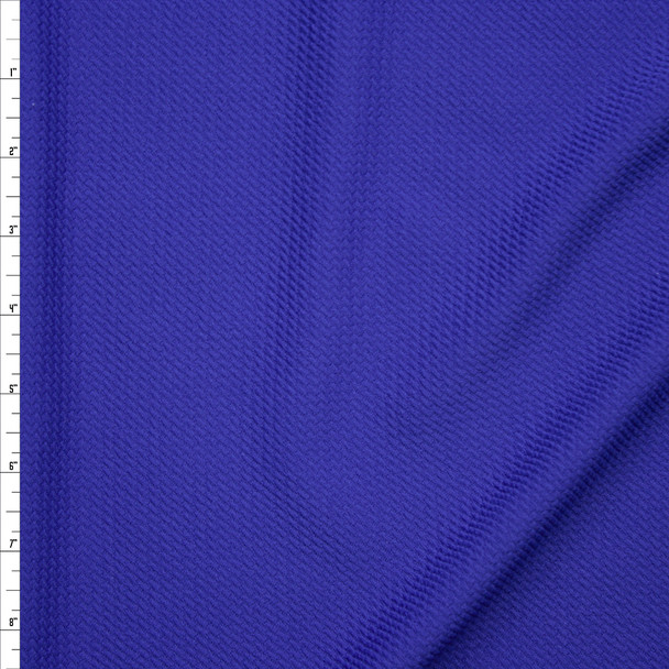 Solid Royal Blue Braided Texture Liverpool Knit Fabric By The Yard