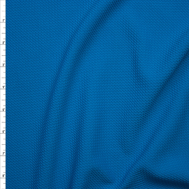 Solid Turquoise Braided Texture Liverpool Knit Fabric By The Yard