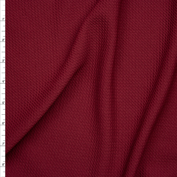 Solid Burgundy Braided Texture Liverpool Knit Fabric By The Yard