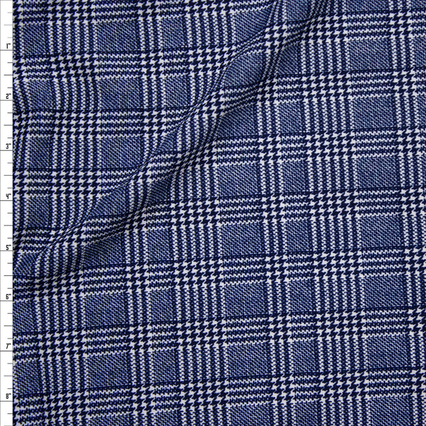 Navy Blue and White Houndstooth Plaid Liverpool Knit Print Fabric By The Yard