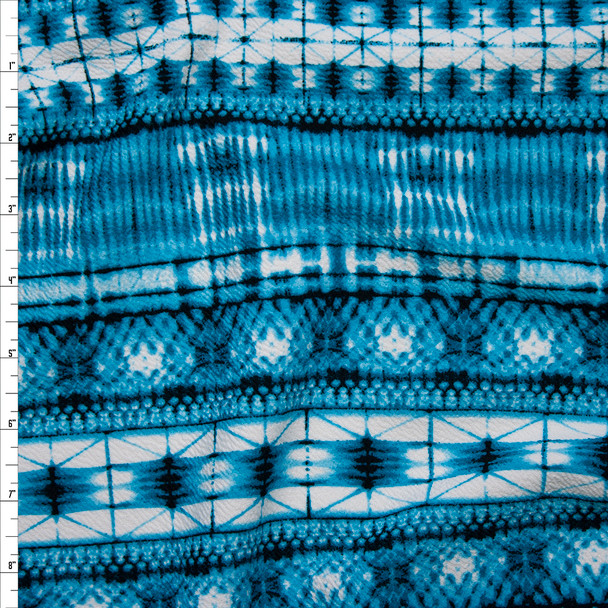 Teal Watercolor Bohemian Stripe Liverpool Knit Print Fabric By The Yard