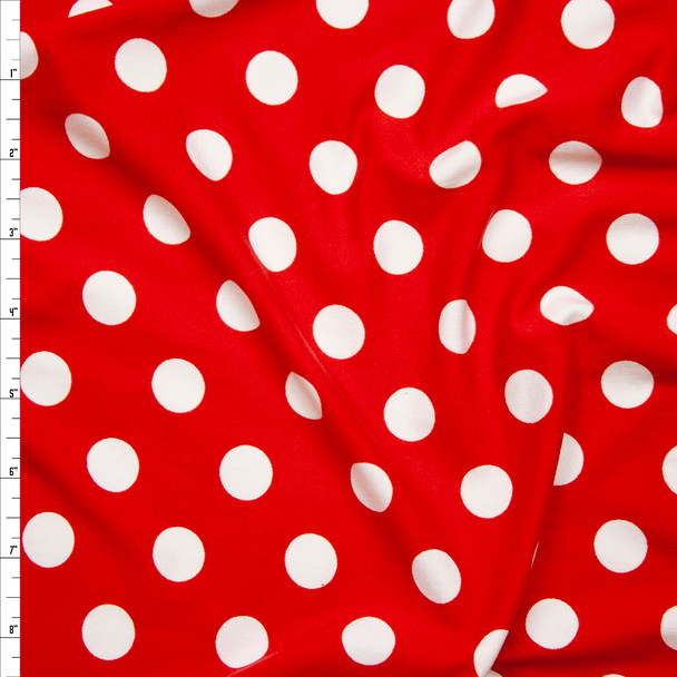 "White on Red 5/8"" Polka Dot Double Brushed Poly Spandex Print Fabric By The Yard"