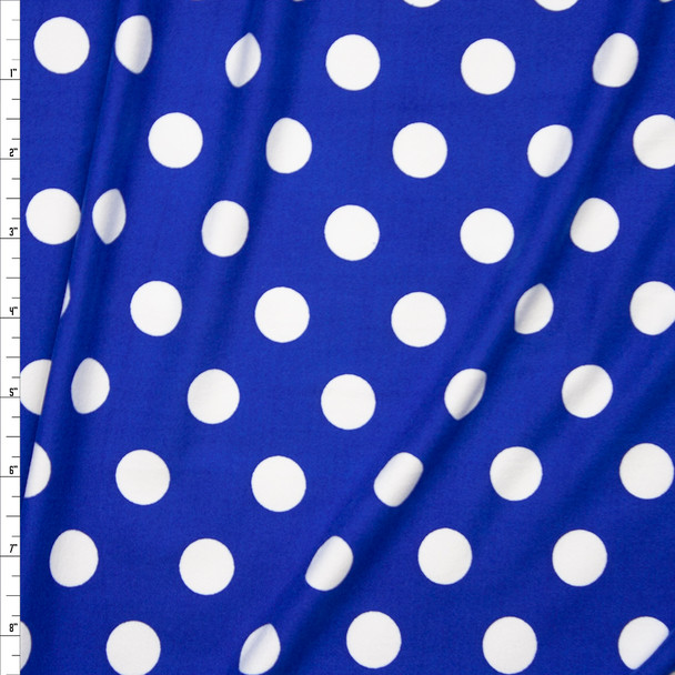 "White on Bright Blue 5/8"" Polka Dot Double Brushed Poly Spandex Print Fabric By The Yard"