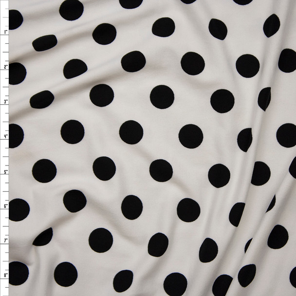 "Black on Offwhite 5/8"" Polka Dot Double Brushed Poly Spandex Print Fabric By The Yard"