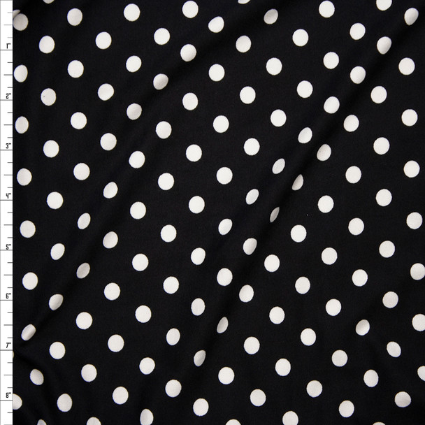 White on Black 8mm Polka Dot Double Brushed Poly Spandex Print Fabric By The Yard