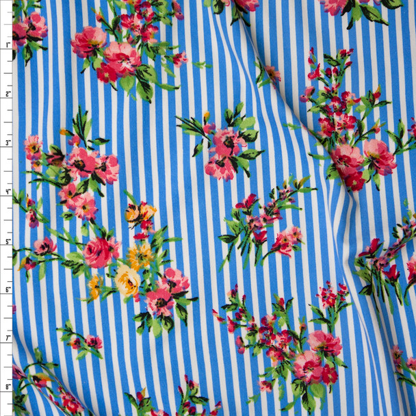 Pink Floral on White and Blue Stripe Double Brushed Poly Spandex Print Fabric By The Yard