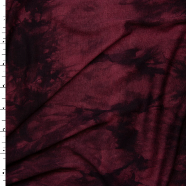 Wine and Black Tie Dye Rayon Lycra Jersey Knit Fabric By The Yard