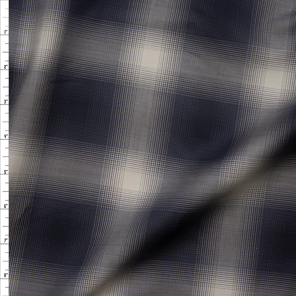 Grey and Ivory Plaid Designer Cotton Shirting Fabric By The Yard