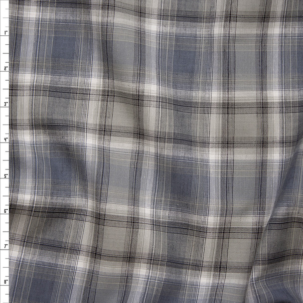 Grey and White Textured Plaid Cotton Poplin Fabric By The Yard