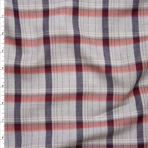 Red, White, and Blue on Light Grey Plaid Soft Cotton Gabardine Fabric By The Yard