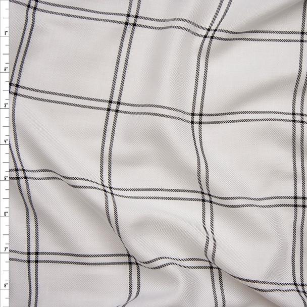 Black on White Windowpane Plaid Rayon Gabardine from 'Generation Love' Fabric By The Yard