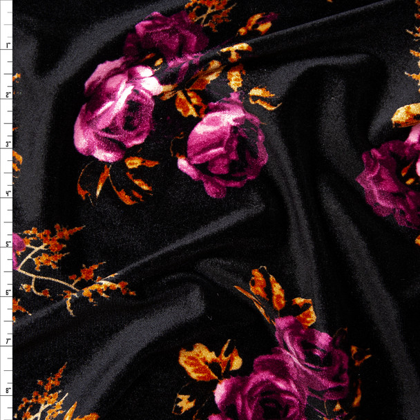 Plum and Caramel Floral on Black 4-way Stretch Velvet Fabric By The Yard