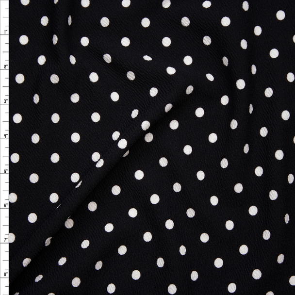White Polka Dots on Black Liverpool Knit Fabric By The Yard