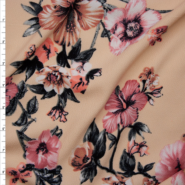 Dusty Pink, Peach, and Charcoal Floral on Soft Peach Liverpool Knit Fabric By The Yard